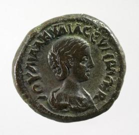 Tetradrachm with bust of Empress Aquilia Severa, wife of Elagabalus
