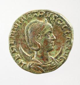 Dupondius coin with bust of Herennia Etruscilla, wife of Trajan Decius