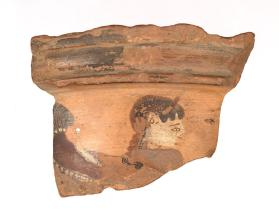Rim fragment of an East Greek black-figure amphora showing a siren or sphinx