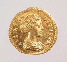 Aureus coin with bust of Lucilla, wife of Lucius Verus