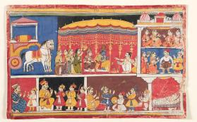 Painting of the Marriage of Krishna and Rukhmini