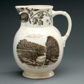 "Pitcher in ""Quebec"" pattern with scene ""Natural Steps, Montmorency River"""