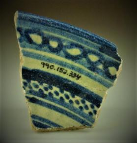 """Blue and White on White"" bowl fragment (rim sherd)"
