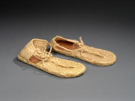 Sandals worn with woman's ensemble