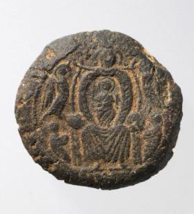 Pilgrim token with enthroned Mary with Christ Child
