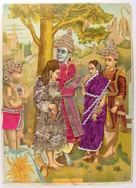 Bharata (Rama's youngest brother) meets Rama, Sita, Lakshman and Hanuman in the forest