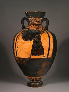 Attic black-figure Panathenaic amphora showing Athena and a horse race