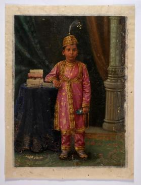 Portrait of a Yuvraj Fatehsinghrao (1883-1908) , eldest son of Sayajirao Gaekwad III,  Maharaja of Baroda