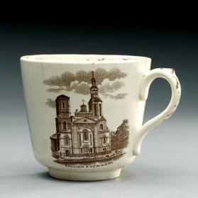 "Cup in ""Quebec"" pattern with scenes ""Basilica & Seminary"" and ""Breakneck Steps"""