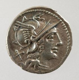 Denarius coin with helmeted head of Roma