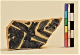 Blue and White on Red ware vessel fragment (body sherd)