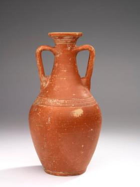 "Red-slip ""Eastern Sigillata A"" ware bottle with two handles"