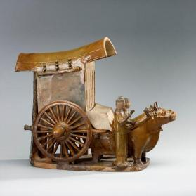 Burial model of a two-wheeled ox-cart with two attendants
