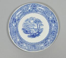 "Dessert plate in ""Lake"" pattern with scene ""Church at Pointe-Lévis"""