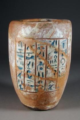 Canopic jar base with painted text