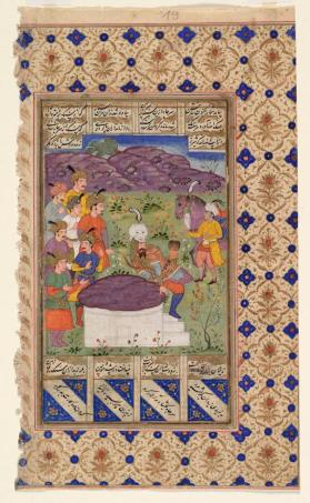 "Manuscript painting from the Shahnameh of Firdawsi: ""Rustam frees Bizhan"""