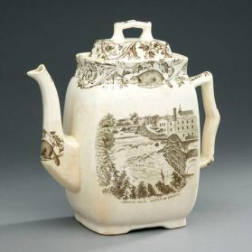 "Teapot and lid in ""Quebec"" pattern with scene ""Lorette Falls"""