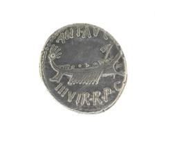 Denarius with warship, standard placed at prow