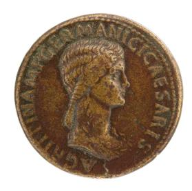 Sestertius coin of Claudius with Aggripina on obverse
