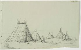 """Indian Camp Scene on Shoreline,"" Southern Algonquian"