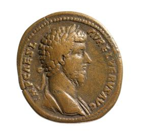 Sestertius with bust of Lucius Verus
