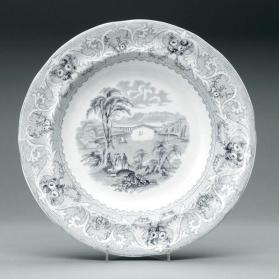 "Soup plate in ""Lake"" pattern with scene ""Chaudière Bridge"""