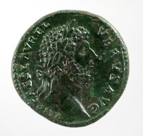 Sestertius with laureate head of Lucius Verus