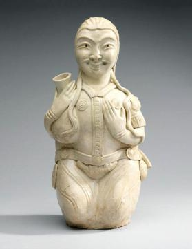 Figural vessel of a kneeling foreign male with a wine-skin
