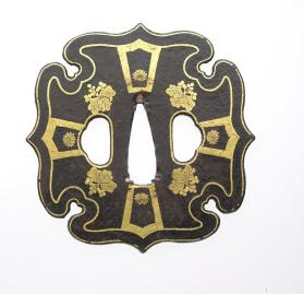 Tsuba (sword guard) with chrysanthemums & paulownia crests