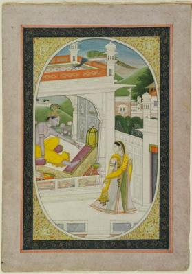 Miniature painting of Krishna and Gopi