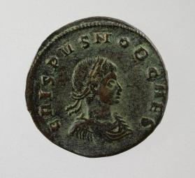 Follis with draped and cuirassed bust of Crispus