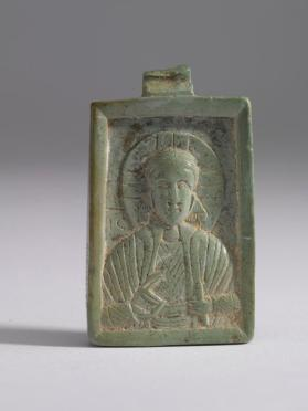 Steatite pendant icon of Christ Emmanuel