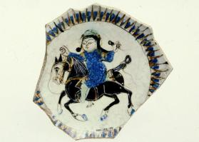 """Minai"" ware vessel fragment with horse and rider (base sherd)"