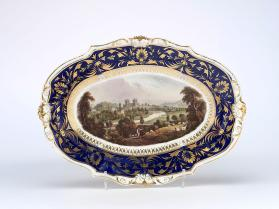 "Oval dessert dish, ""Exeter from Exwick Hill"""