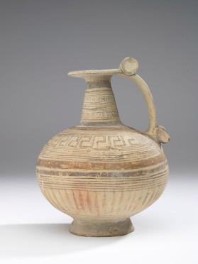Narrow-necked jug with geometric decorations