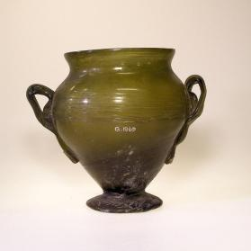 Green jar with two handles