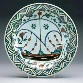 Dish with sailing ship