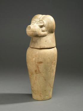 Canopic jar base (lid in form of baboon head, Hapy)