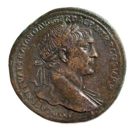 Sestertius of Trajan with goddess Fortuna on reverse side