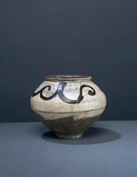 Buncheong ware jar with floral design 분청사기철화당초문호