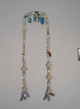 Beadwork chain, perhaps a bridle piece for a horse