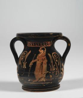 Etruscan pseudo red-figure pelike with cloaked figure and palmettes