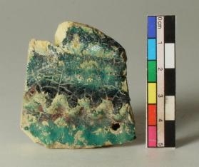 Turquoise-glazed ware vessel fragment (body sherd)