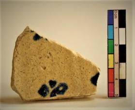Blue and White on White ware vessel fragment (body sherd)
