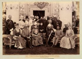 H. R. H. The Duke and Dutchess of Connaught with H. H. the Nizam, Minister and Party, from A Souvenir from Nawab Sir Asman Jah, Hyderabad (Deccan), 1895 album