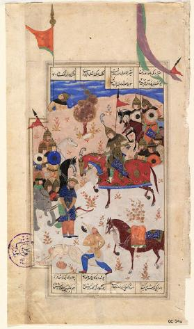 Manuscript painting from the Iskandarnameh of Nizamii: Khaqan stands before Iskandar on horse