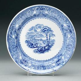"Plate in ""Lake"" pattern with scene ""Georgeville"""