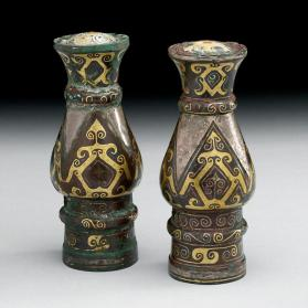 Finials with inlaid decoration
