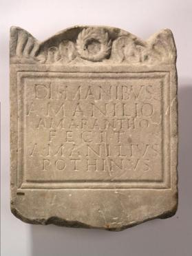 Funerary plaque with Latin inscription