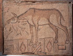 Rectangular floor mosaic panel with donkey